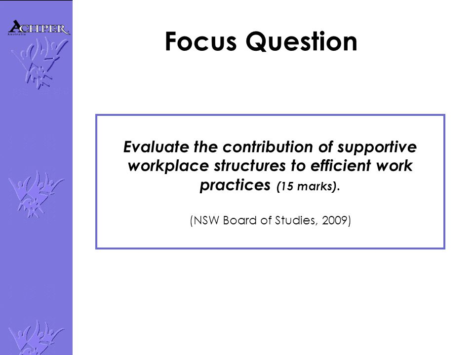 Evaluate the contribution of supportive workplace structures to efficient work practices (15 marks).