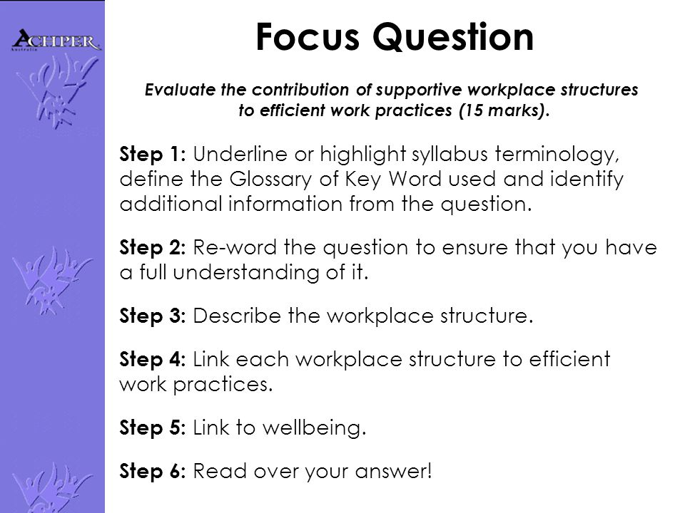 Focus Question Evaluate the contribution of supportive workplace structures to efficient work practices (15 marks).
