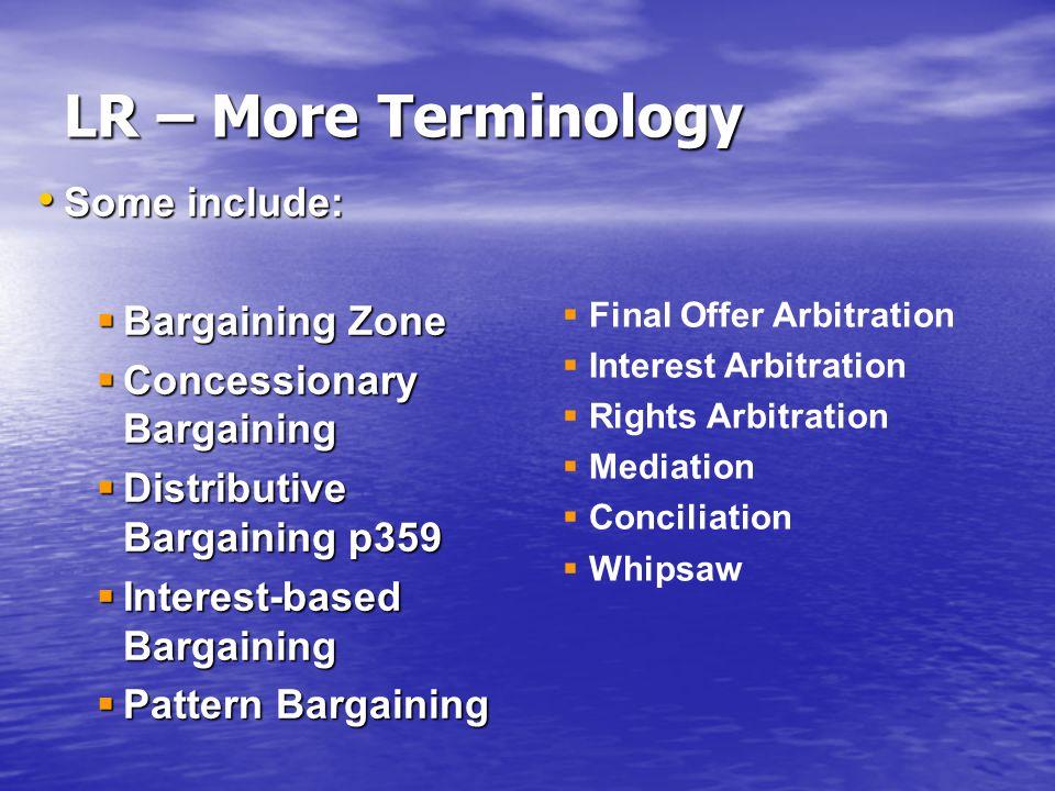 Some include: Some include:  Bargaining Zone  Concessionary Bargaining  Distributive Bargaining p359  Interest-based Bargaining  Pattern Bargaini