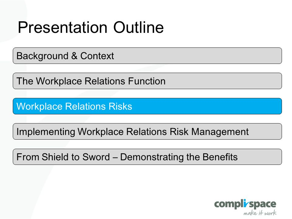 Presentation Outline The Workplace Relations Function Workplace Relations Risks Implementing Workplace Relations Risk Management Background & Context
