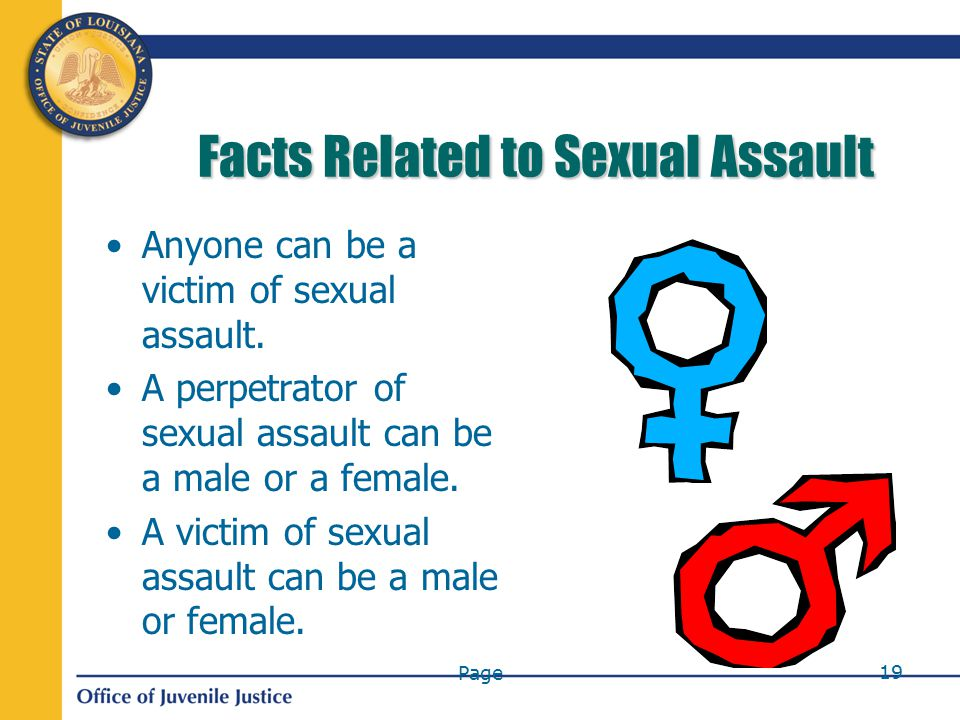 Page 19 Facts Related to Sexual Assault Anyone can be a victim of sexual assault.