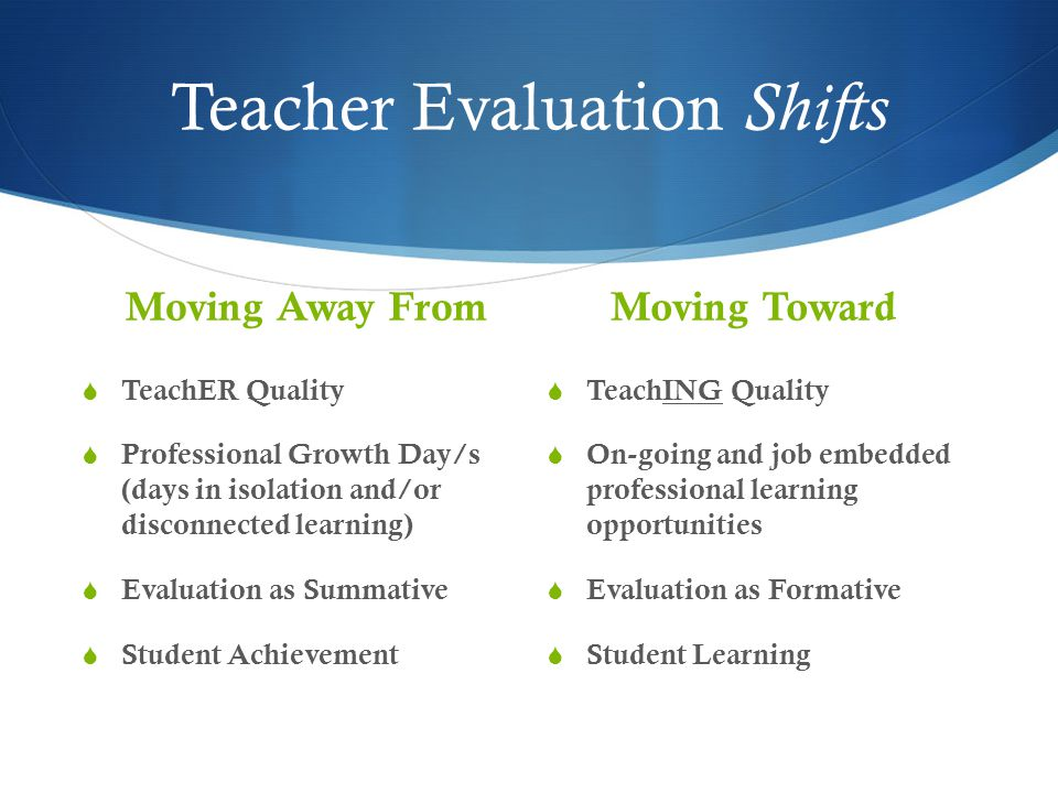 Teacher Evaluation Shifts Moving Away From  TeachER Quality  Professional Growth Day/s (days in isolation and/or disconnected learning)  Evaluation as Summative  Student Achievement Moving Toward  TeachING Quality  On-going and job embedded professional learning opportunities  Evaluation as Formative  Student Learning
