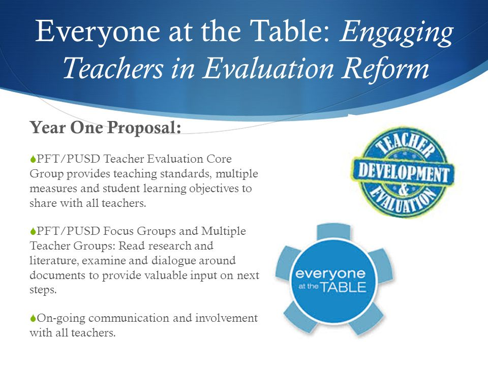 Everyone at the Table: Engaging Teachers in Evaluation Reform Year One Proposal:  PFT/PUSD Teacher Evaluation Core Group provides teaching standards, multiple measures and student learning objectives to share with all teachers.