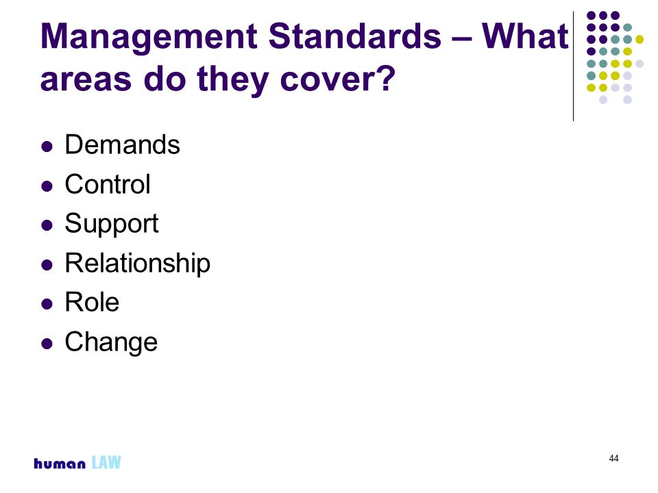 44 Management Standards – What areas do they cover.