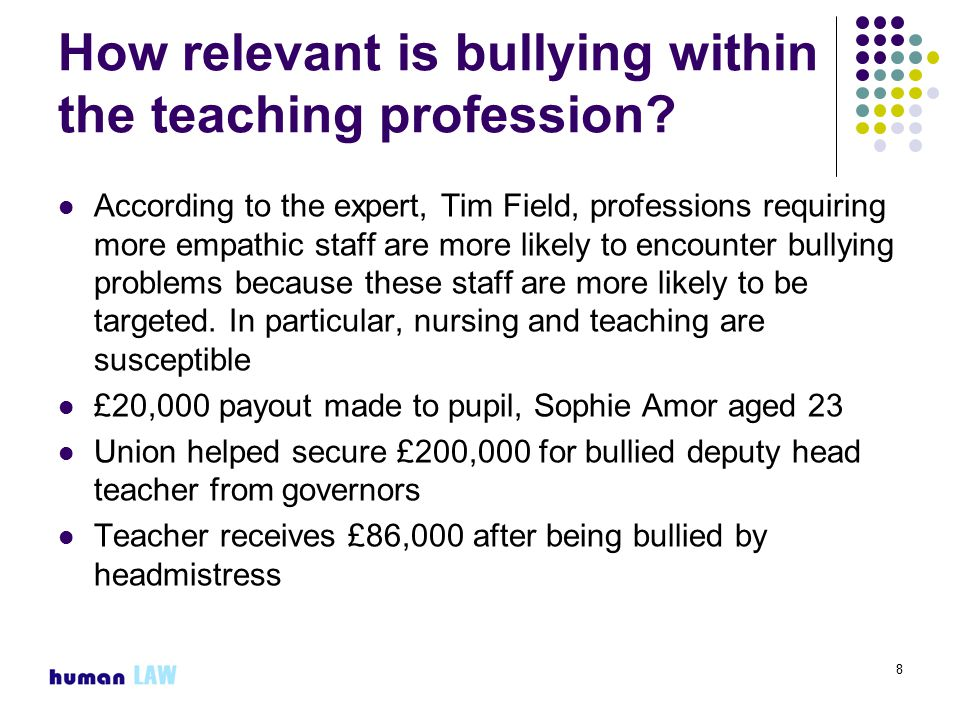 8 How relevant is bullying within the teaching profession.