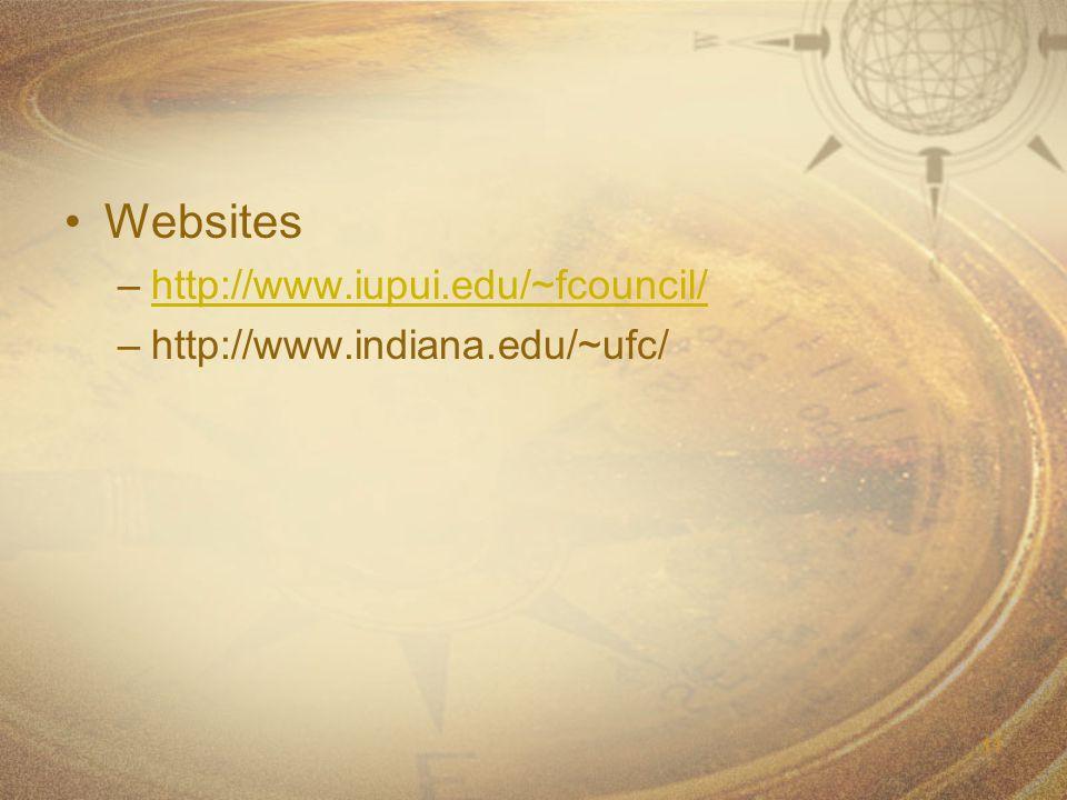 11 Websites –http://www.iupui.edu/~fcouncil/http://www.iupui.edu/~fcouncil/ –http://www.indiana.edu/~ufc/