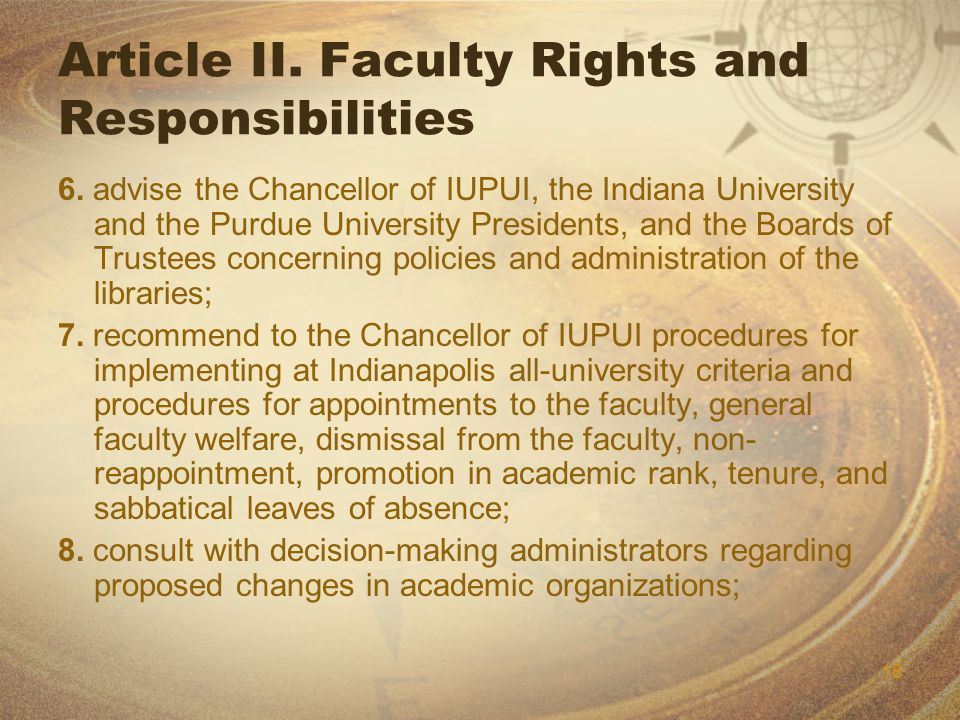 18 Article II. Faculty Rights and Responsibilities 6.
