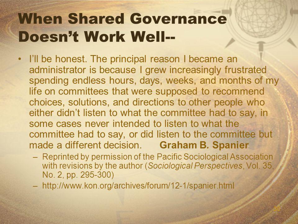 30 When Shared Governance Doesn't Work Well-- I'll be honest.