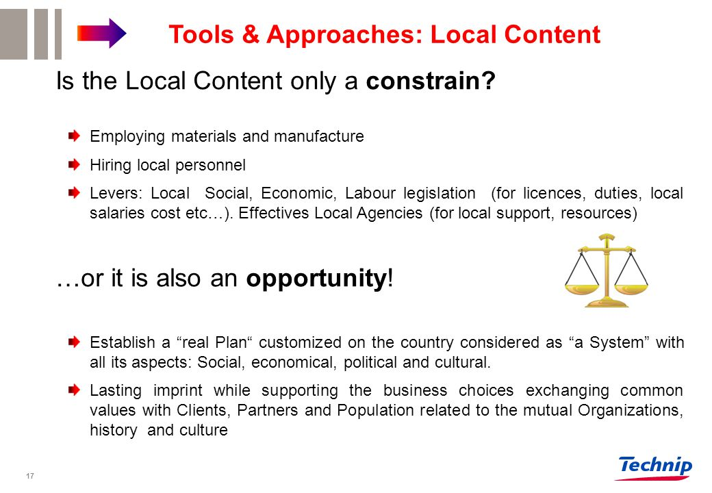 Tools & Approaches: Local Content Is the Local Content only a constrain.