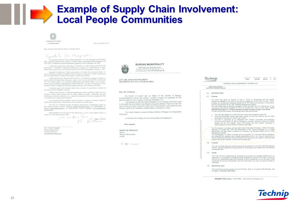 21 Example of Supply Chain Involvement: Local People Communities