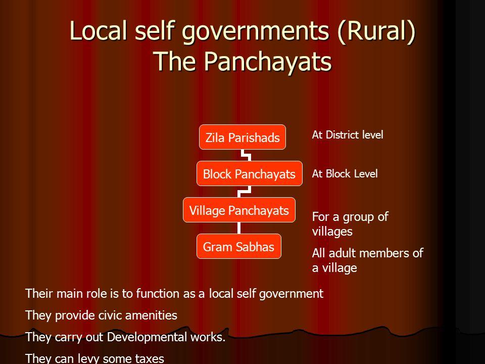 Local self governments (Rural) The Panchayats Zila Parishads Block Panchayats Village Panchayats Gram Sabhas At District level At Block Level For a gr
