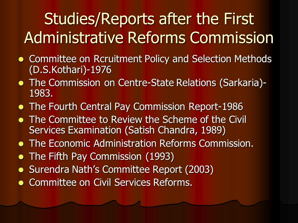 Studies/Reports after the First Administrative Reforms Commission Committee on Rcruitment Policy and Selection Methods (D.S.Kothari)-1976 Committee on