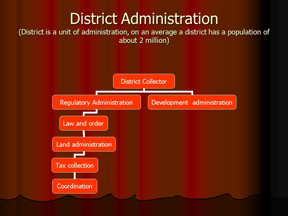 District Administration (District is a unit of administration, on an average a district has a population of about 2 million) District Collector Regula
