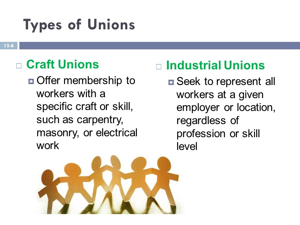 Types of Unions  Craft Unions  Offer membership to workers with a specific craft or skill, such as carpentry, masonry, or electrical work  Industrial Unions  Seek to represent all workers at a given employer or location, regardless of profession or skill level 12-8