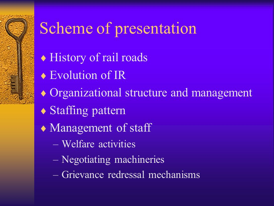 Scheme of presentation  History of rail roads  Evolution of IR  Organizational structure and management  Staffing pattern  Management of staff –Welfare activities –Negotiating machineries –Grievance redressal mechanisms