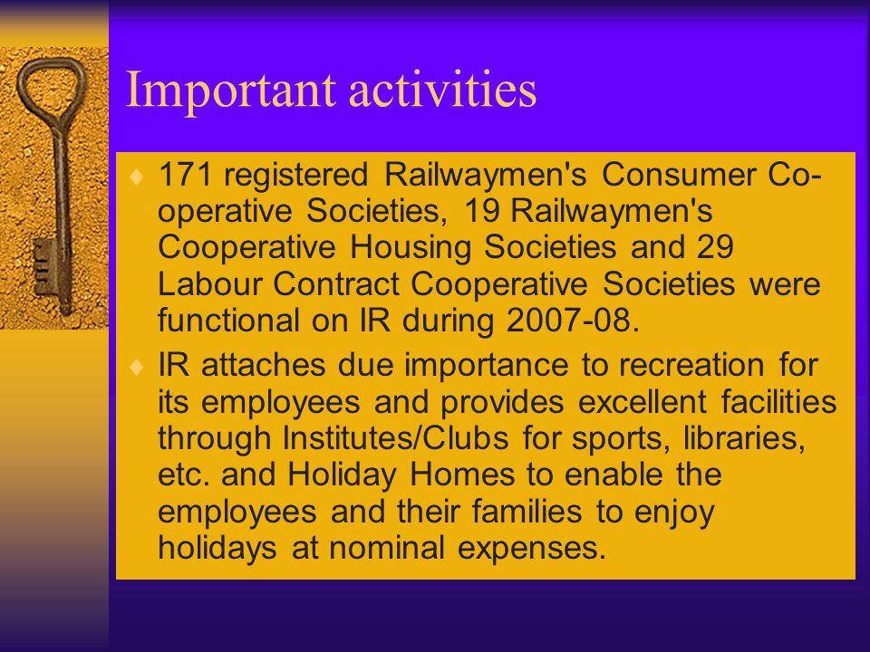 Important activities  171 registered Railwaymen's Consumer Co- operative Societies, 19 Railwaymen's Cooperative Housing Societies and 29 Labour Contr