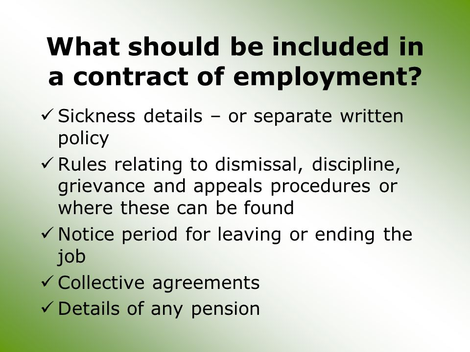 What should be included in a contract of employment.