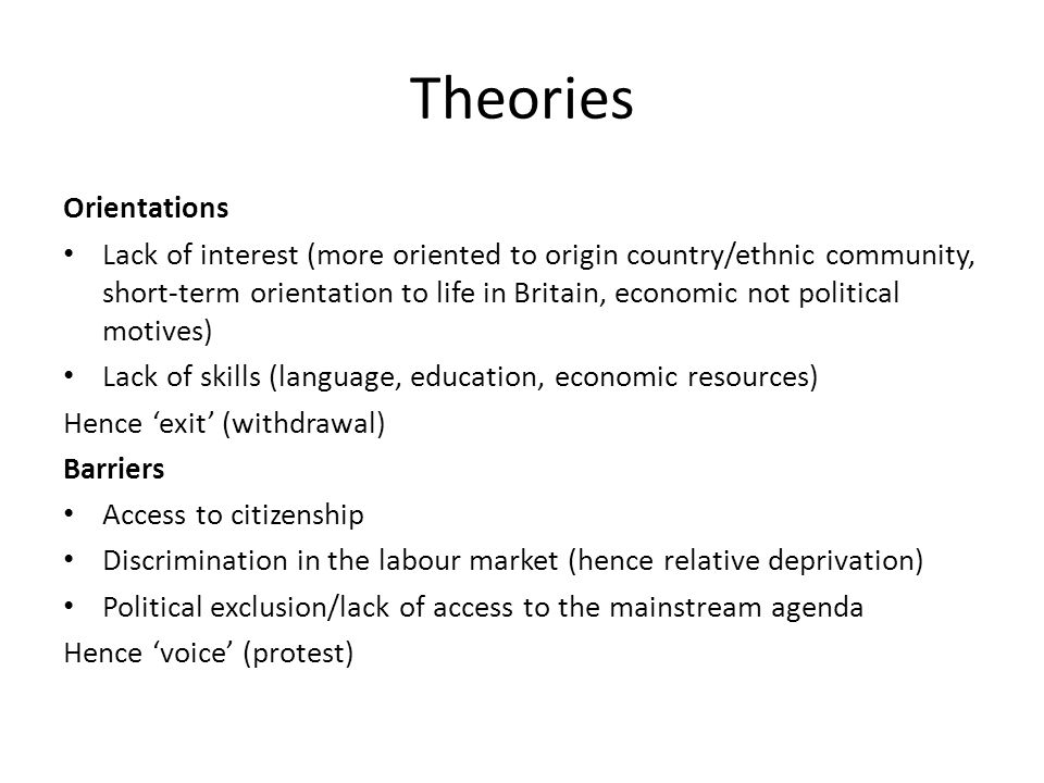 Theories Orientations Lack of interest (more oriented to origin country/ethnic community, short-term orientation to life in Britain, economic not political motives) Lack of skills (language, education, economic resources) Hence 'exit' (withdrawal) Barriers Access to citizenship Discrimination in the labour market (hence relative deprivation) Political exclusion/lack of access to the mainstream agenda Hence 'voice' (protest)