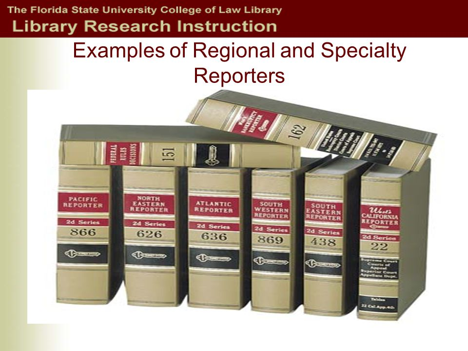 Examples of Regional and Specialty Reporters