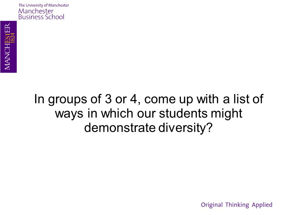 In groups of 3 or 4, come up with a list of ways in which our students might demonstrate diversity?
