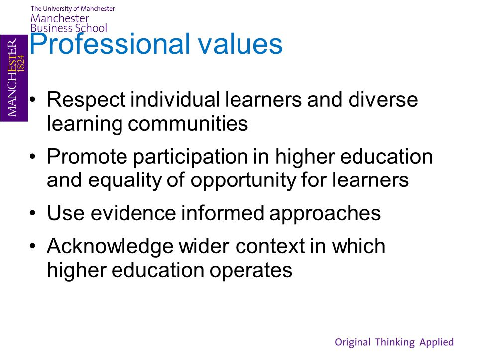 Professional values Respect individual learners and diverse learning communities Promote participation in higher education and equality of opportunity