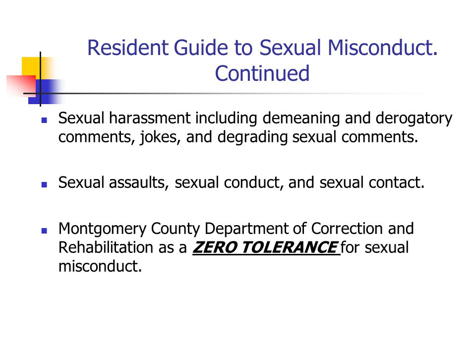 Resident Guide to Sexual Misconduct.