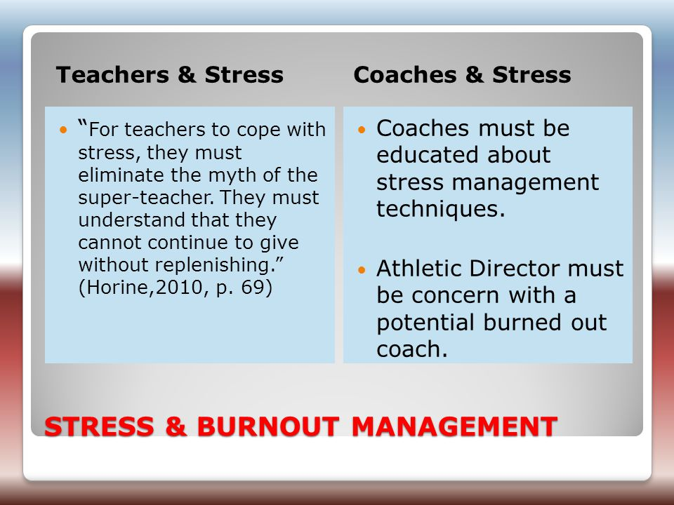 STRESS & BURNOUT MANAGEMENT Teachers & StressCoaches & Stress For teachers to cope with stress, they must eliminate the myth of the super-teacher.