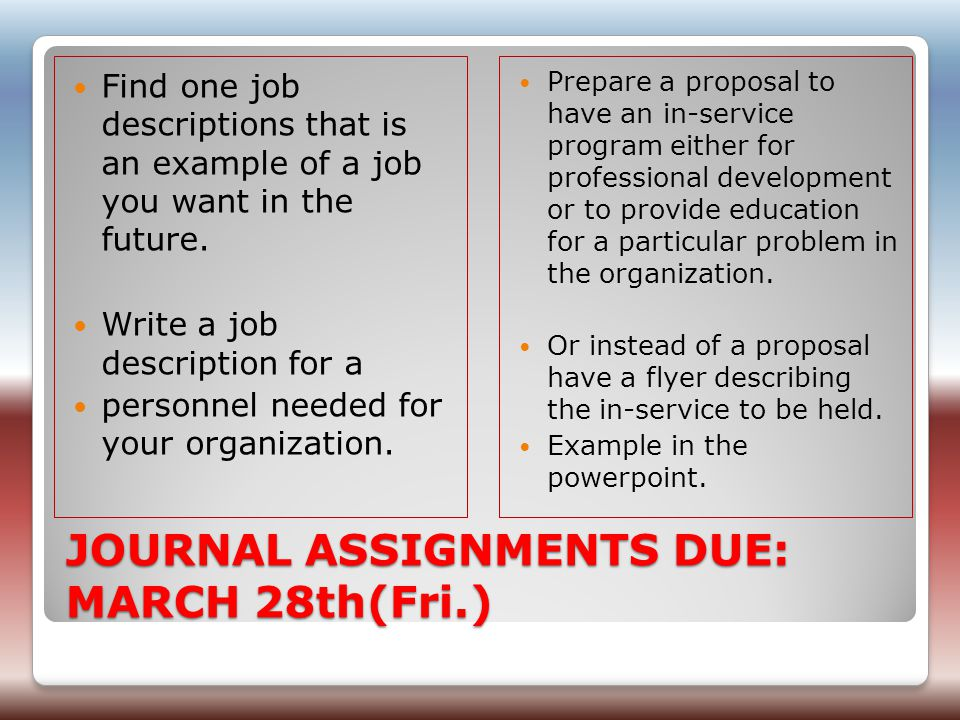 JOURNAL ASSIGNMENTS DUE: MARCH 28th(Fri.) Find one job descriptions that is an example of a job you want in the future.