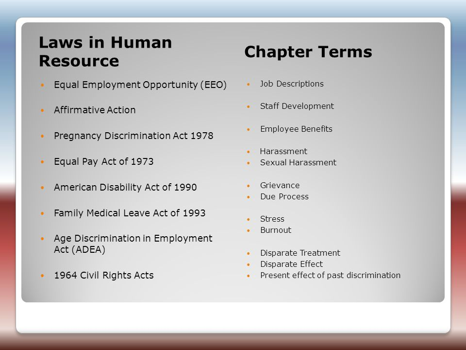 Laws in Human Resource Chapter Terms Equal Employment Opportunity (EEO) Affirmative Action Pregnancy Discrimination Act 1978 Equal Pay Act of 1973 American Disability Act of 1990 Family Medical Leave Act of 1993 Age Discrimination in Employment Act (ADEA) 1964 Civil Rights Acts Job Descriptions Staff Development Employee Benefits Harassment Sexual Harassment Grievance Due Process Stress Burnout Disparate Treatment Disparate Effect Present effect of past discrimination