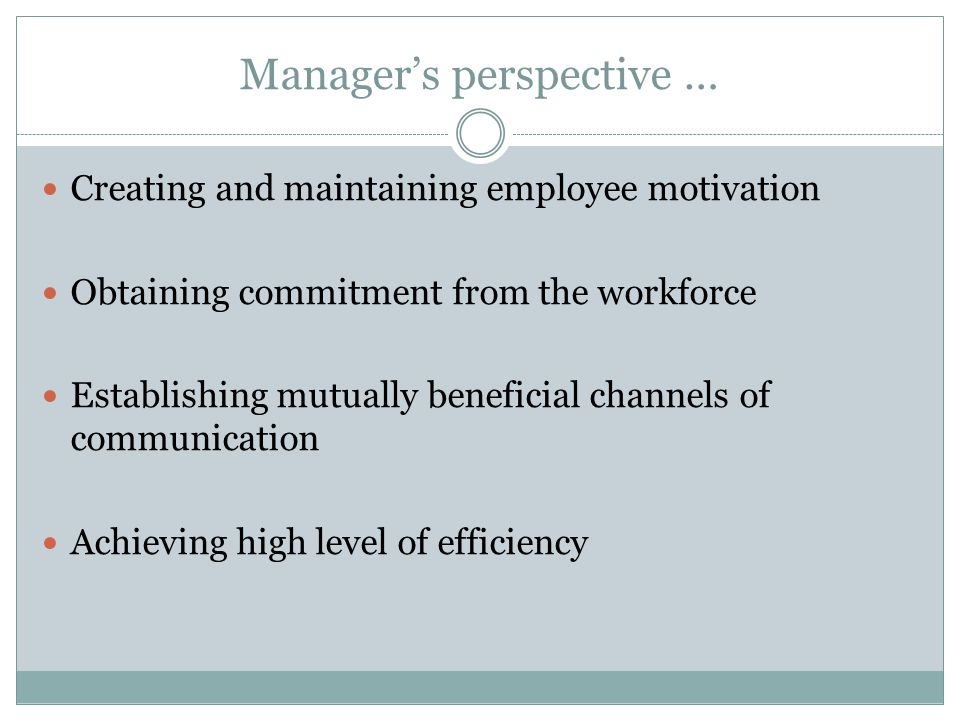 Manager's perspective … Creating and maintaining employee motivation Obtaining commitment from the workforce Establishing mutually beneficial channels of communication Achieving high level of efficiency