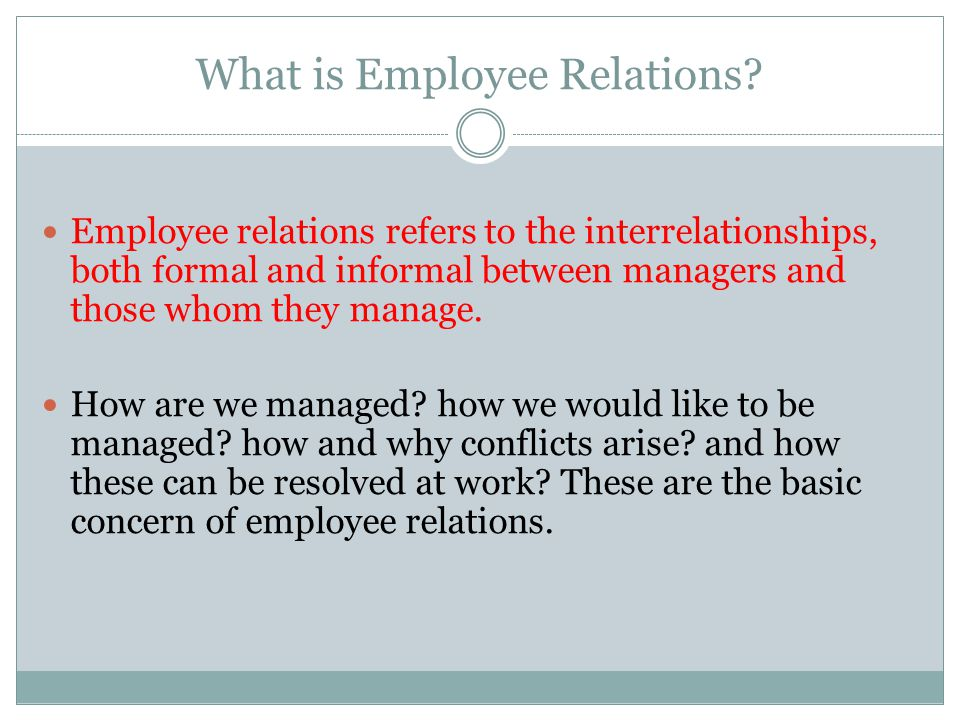 What is Employee Relations.