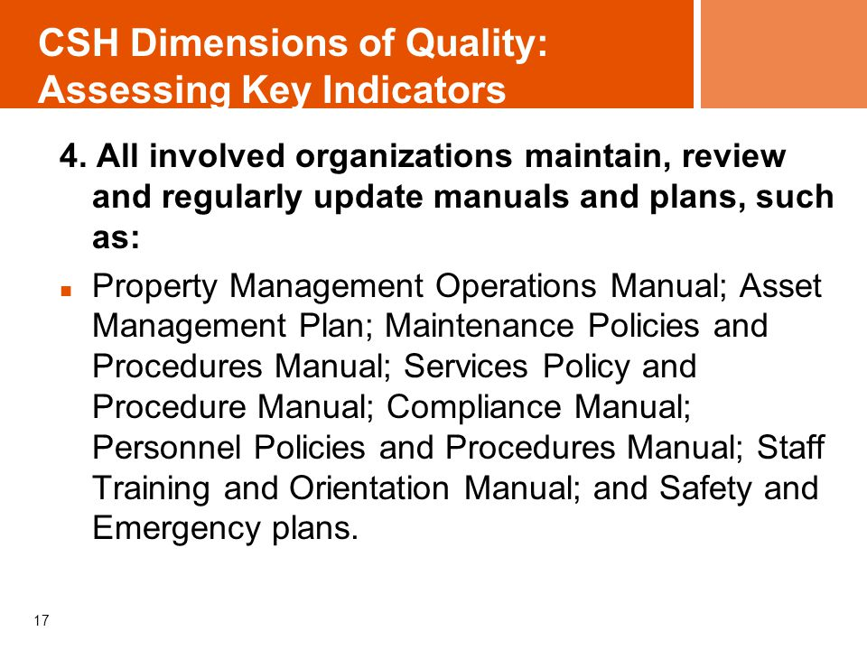 CSH Dimensions of Quality: Assessing Key Indicators 4.
