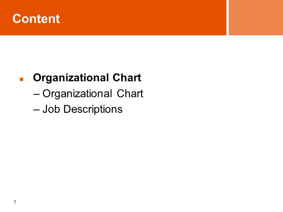 7 Content Organizational Chart –Organizational Chart –Job Descriptions