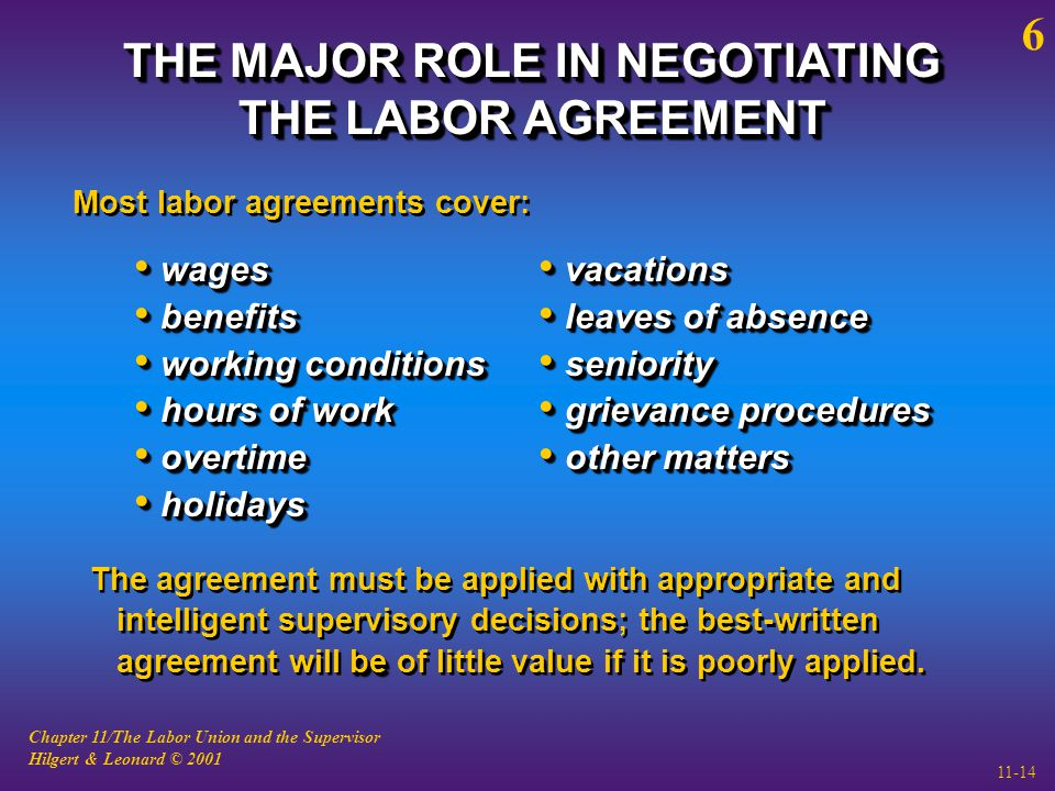 Chapter 11/The Labor Union and the Supervisor Hilgert & Leonard © 2001 11-14 THE MAJOR ROLE IN NEGOTIATING THE LABOR AGREEMENT Most labor agreements cover: wages wages benefits benefits working conditions working conditions hours of work hours of work overtime overtime holidays holidays wages wages benefits benefits working conditions working conditions hours of work hours of work overtime overtime holidays holidays vacations vacations leaves of absence leaves of absence seniority seniority grievance procedures grievance procedures other matters other matters vacations vacations leaves of absence leaves of absence seniority seniority grievance procedures grievance procedures other matters other matters be The agreement must be applied with appropriate and intelligent supervisory decisions; the best-written agreement will be of little value if it is poorly applied.