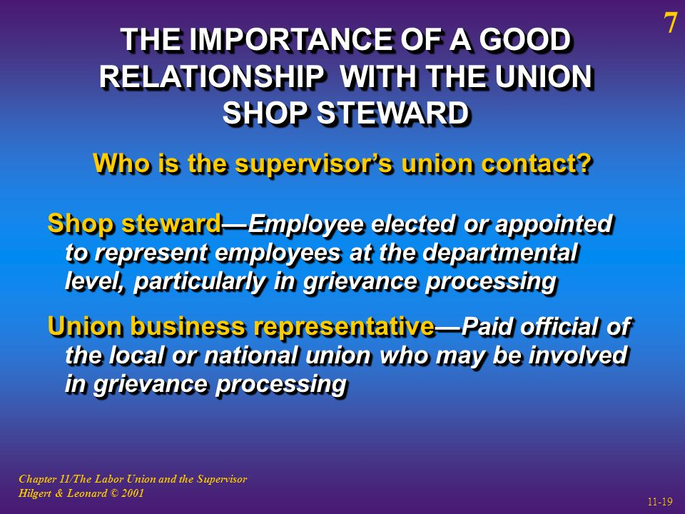 Chapter 11/The Labor Union and the Supervisor Hilgert & Leonard © 2001 11-19 THE IMPORTANCE OF A GOOD RELATIONSHIP WITH THE UNION SHOP STEWARD Shop steward —Employee elected or appointed to represent employees at the departmental level, particularly in grievance processing Union business representative —Paid official of the local or national union who may be involved in grievance processing Shop steward —Employee elected or appointed to represent employees at the departmental level, particularly in grievance processing Union business representative —Paid official of the local or national union who may be involved in grievance processing Who is the supervisor's union contact.