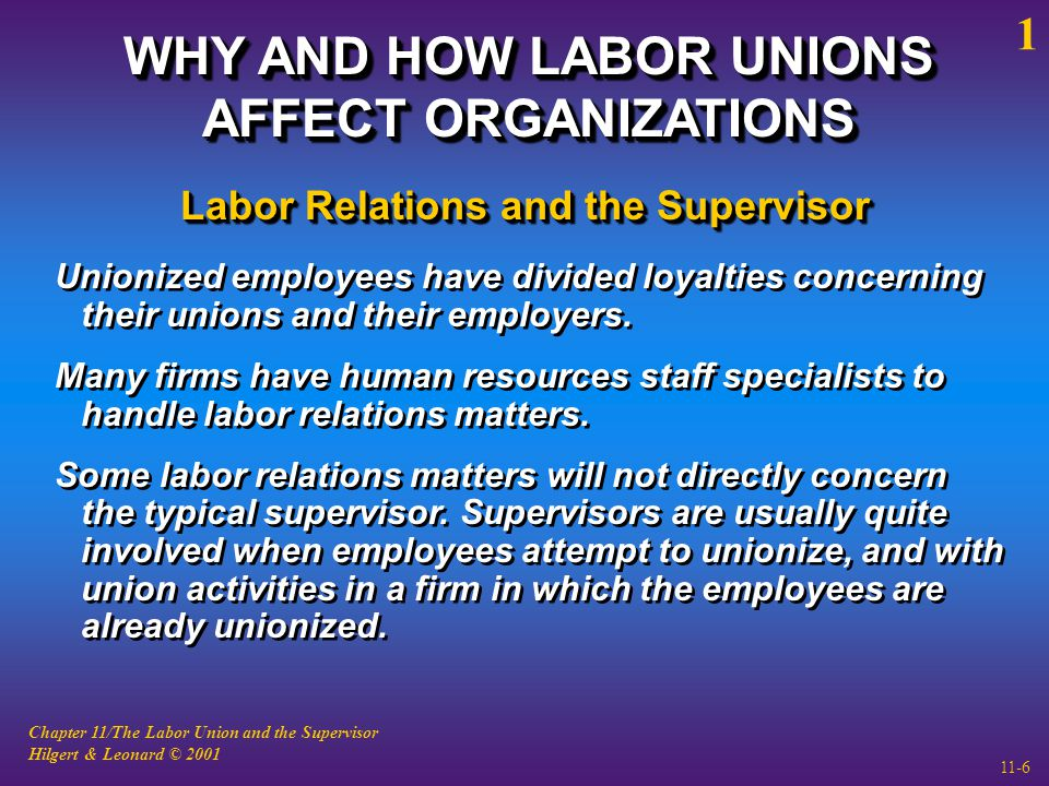 Chapter 11/The Labor Union and the Supervisor Hilgert & Leonard © 2001 11-6 WHY AND HOW LABOR UNIONS AFFECT ORGANIZATIONS Unionized employees have divided loyalties concerning their unions and their employers.