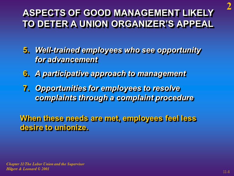 Chapter 11/The Labor Union and the Supervisor Hilgert & Leonard © 2001 11-8 ASPECTS OF GOOD MANAGEMENT LIKELY TO DETER A UNION ORGANIZER'S APPEAL 5.Well-trained employees who see opportunity for advancement 6.A participative approach to management 7.Opportunities for employees to resolve complaints through a complaint procedure When these needs are met, employees feel less desire to unionize.
