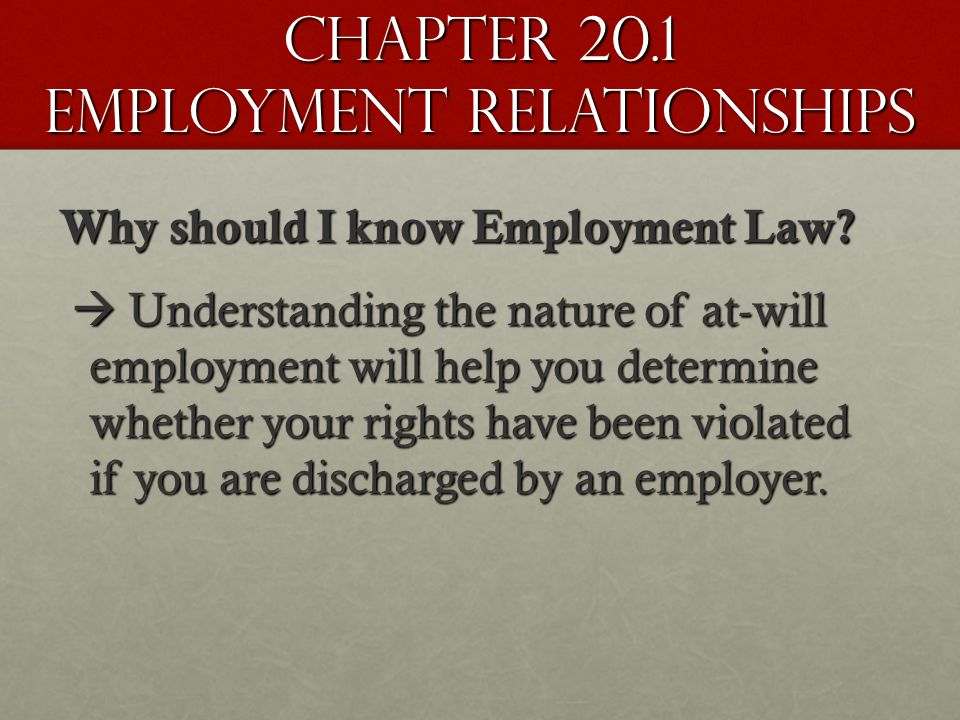 Chapter 20.1 Employment Relationships Why should I know Employment Law.
