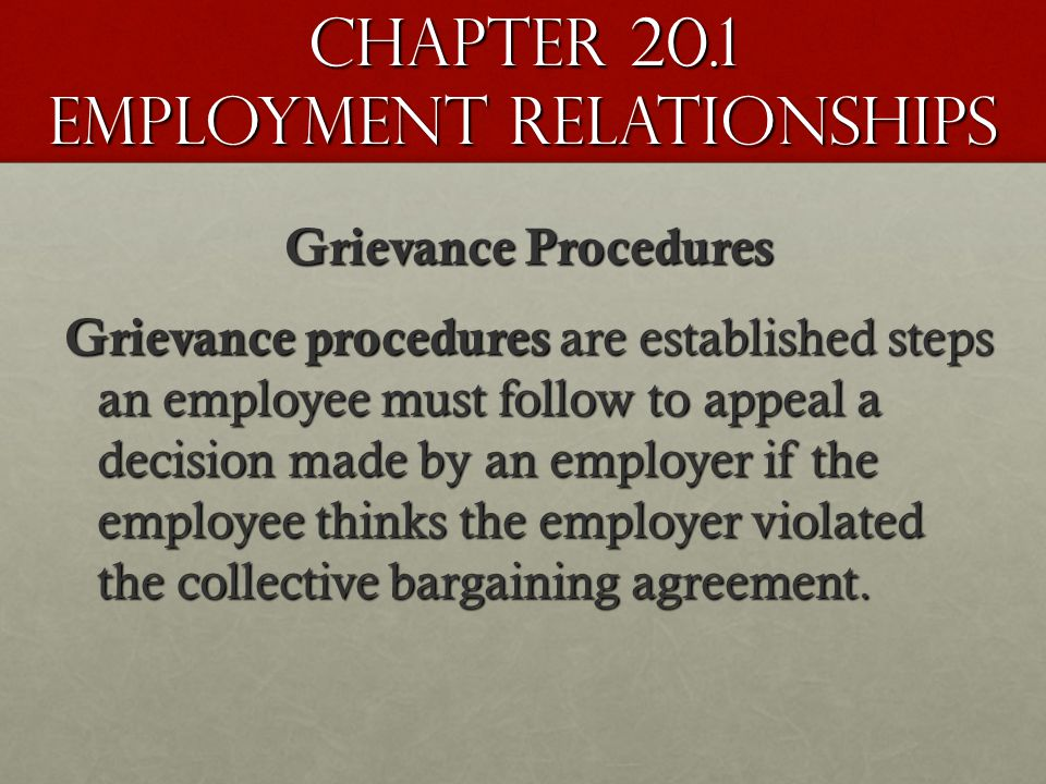 Chapter 20.1 Employment Relationships Grievance Procedures Grievance procedures are established steps an employee must follow to appeal a decision made by an employer if the employee thinks the employer violated the collective bargaining agreement.