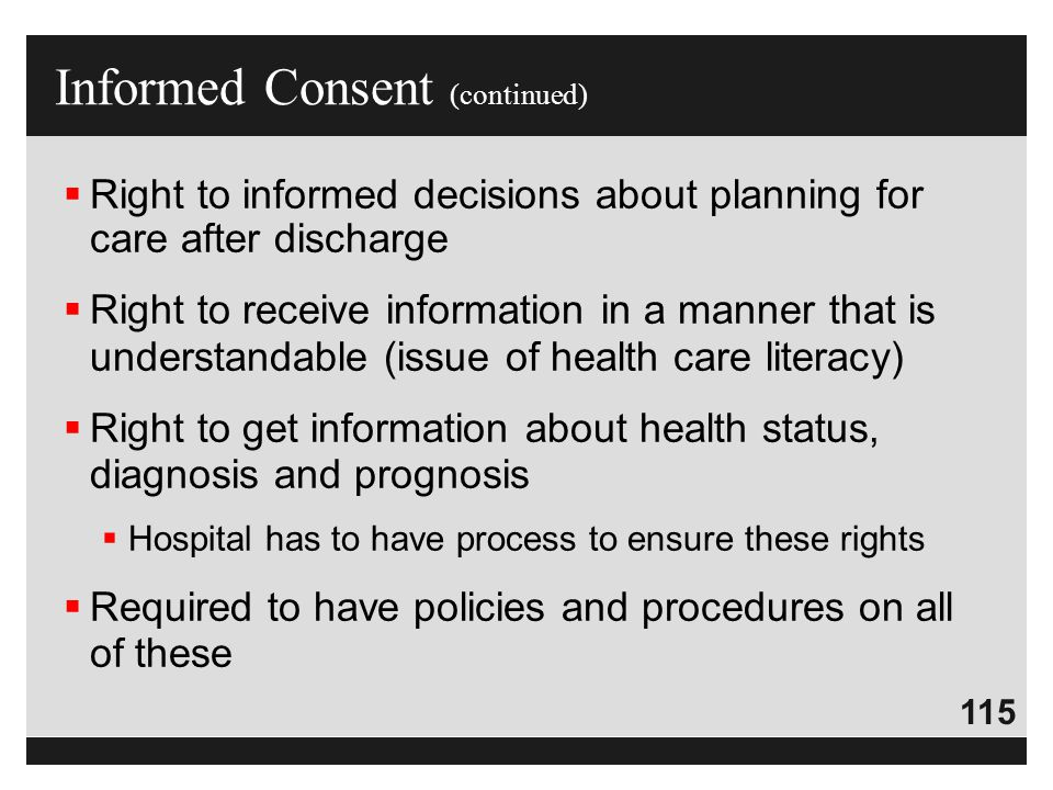 115  Right to informed decisions about planning for care after discharge  Right to receive information in a manner that is understandable (issue of