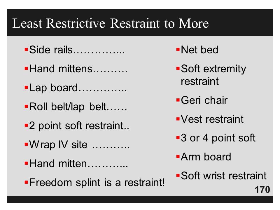 170  Side rails…………...  Hand mittens……….  Lap board…………..  Roll belt/lap belt……  2 point soft restraint..  Wrap IV site ………..  Hand mitten………..