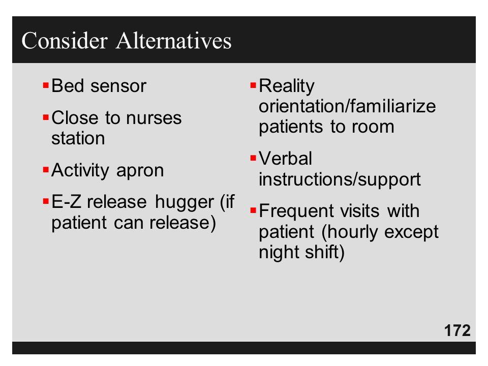 172  Bed sensor  Close to nurses station  Activity apron  E-Z release hugger (if patient can release)  Reality orientation/familiarize patients t