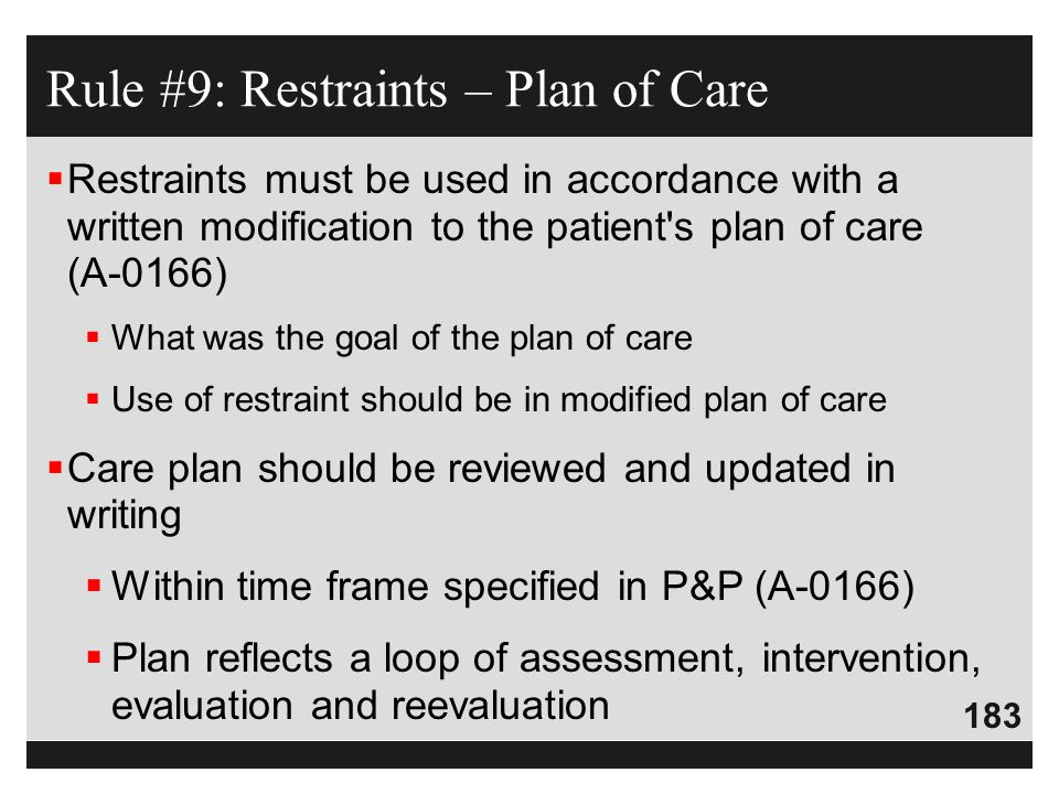183  Restraints must be used in accordance with a written modification to the patient's plan of care (A-0166)  What was the goal of the plan of care