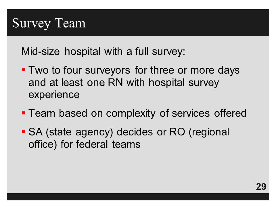 29 Mid-size hospital with a full survey:  Two to four surveyors for three or more days and at least one RN with hospital survey experience  Team bas
