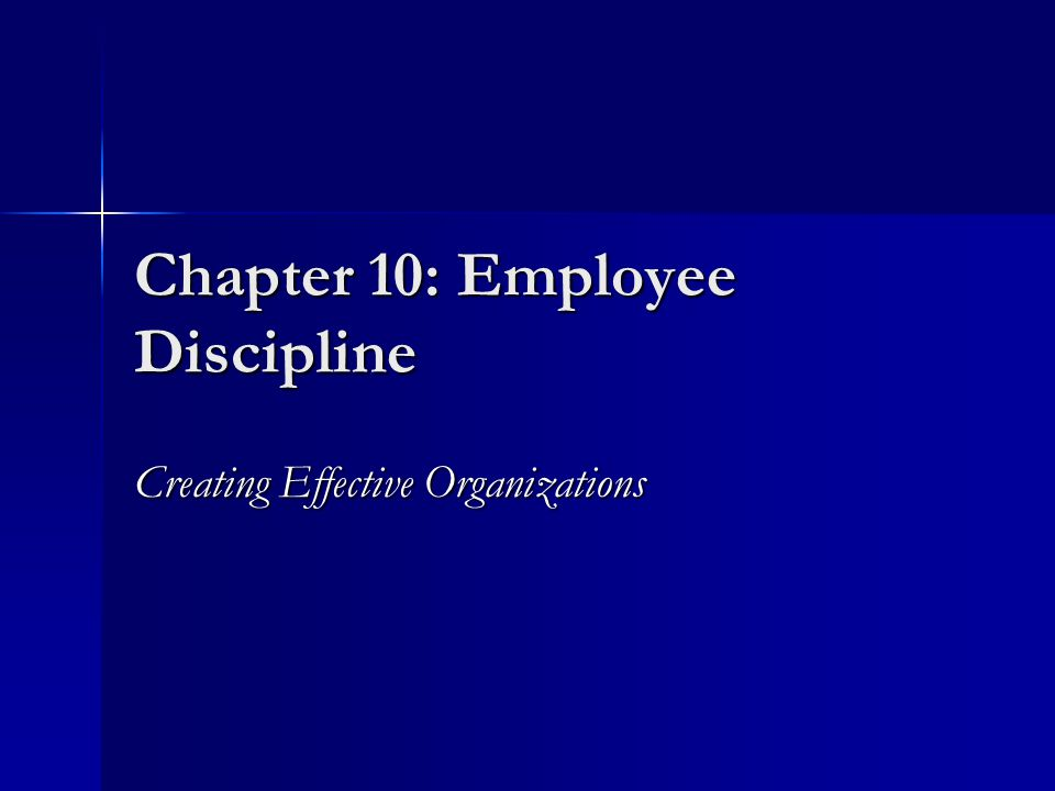 Chapter 10: Employee Discipline Creating Effective Organizations