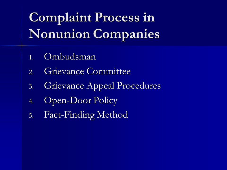 Complaint Process in Nonunion Companies 1. Ombudsman 2. Grievance Committee 3. Grievance Appeal Procedures 4. Open-Door Policy 5. Fact-Finding Method