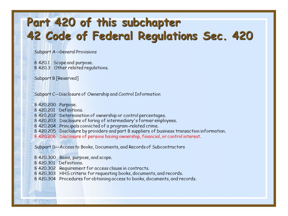 Part 420 of this subchapter 42 Code of Federal Regulations Sec.
