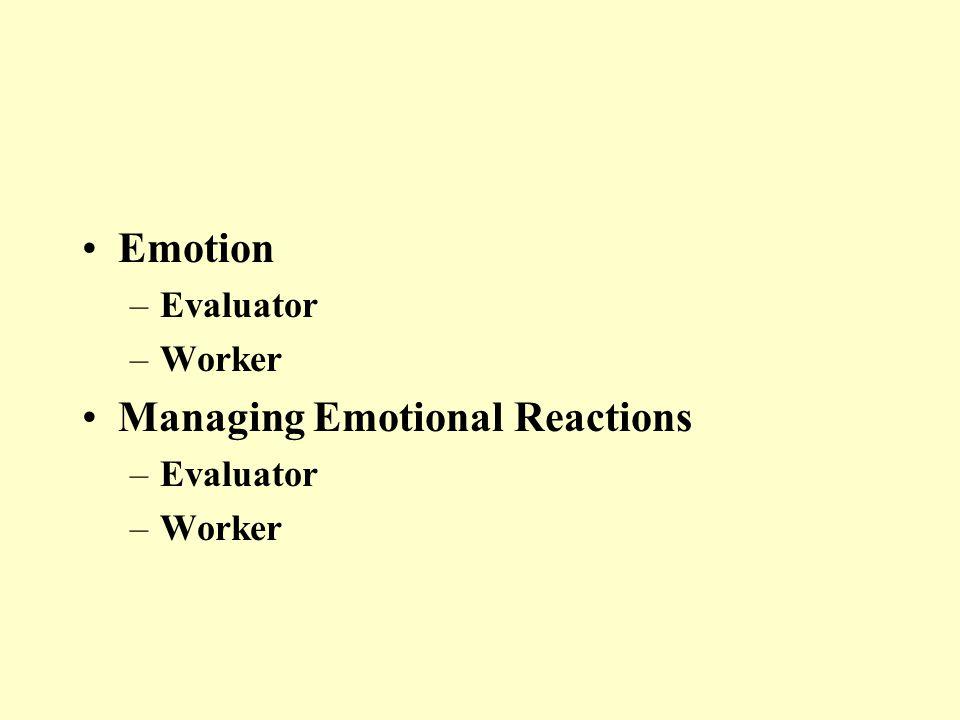 Emotion –Evaluator –Worker Managing Emotional Reactions –Evaluator –Worker