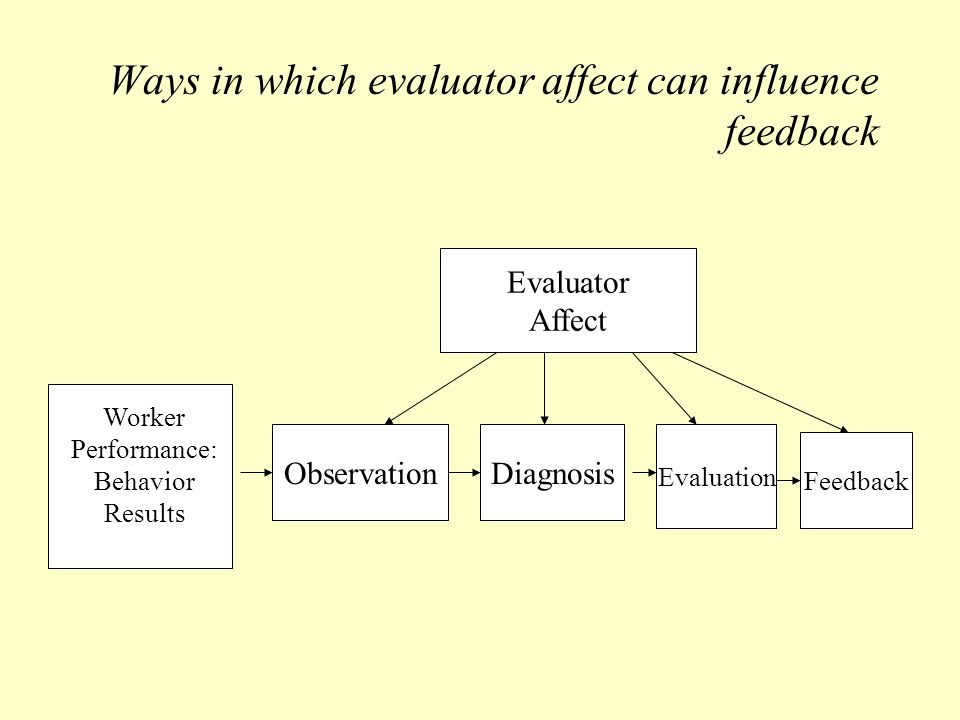 Ways in which evaluator affect can influence feedback Worker Performance: Behavior Results ObservationDiagnosis Evaluation Feedback Evaluator Affect