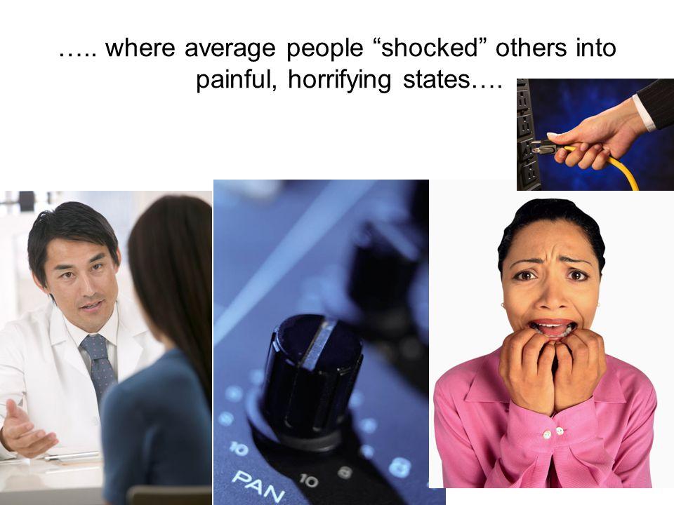 ….. where average people shocked others into painful, horrifying states….